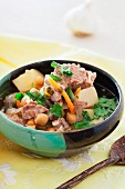 Lamb soup with potatoes and chickpeas