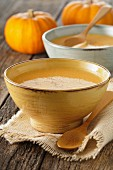 Cream of pumpkin soup in a soup bowl