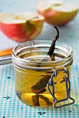 Apple jelly with a vanilla pod in a jam jar