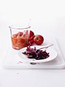 Red onion chutney and tomato chutney