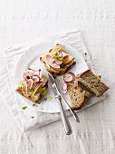Rye bread topped with potato salad, sausage and radishes