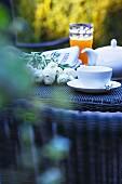 Breakfast table in an Italian garden