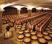 Mann rollt Fass im Weinkeller von Chateau Margaux (Margaux, Gironde, Frankreich)