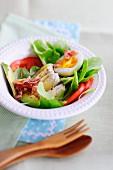 Avocado, ham and egg salad