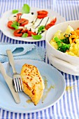 Vegetable gratin with turkey steak
