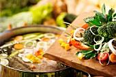 Gemüse und Suppentopf