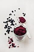 Fruchtpulver von schwarzen Johannisbeeren in Glas & auf Löffel