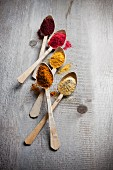 Fünf verschiedene Fruchtpulver auf Holzlöffeln