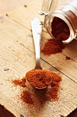 Paprika powder on a spoon and in a jar