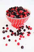 Frozen mixed berries in a spotted bowl