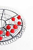 Raspberries on a wire rack