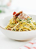 Spaghetti with a vegetable sauce and anchovies
