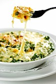 Spinach Spätzle (soft egg noodles from Swabia) topped with melted cheese