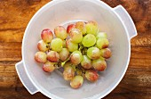 Fresh grapes in a plastic bowl (seen from above)