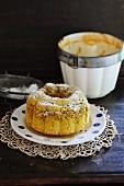 Semolina pudding, dusted with icing sugar