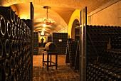 Bottle cellar of La Montina. Monticelli Brusati, Franciacorta, Lombardy, Italy. [Franciacorta]