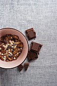 A bowl of chocolate muesli