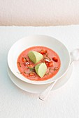 Strawberry soup with basil mousse
