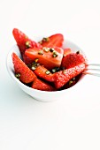 Fresh strawberries with green pepper