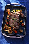 Grilled loin steak with vegetables