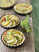 Green tomato and mozzarella tartlets