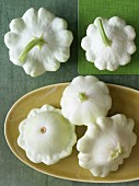 White patty pan squashes (seen above)