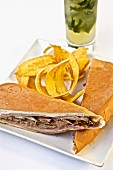 A Cuban sandwich (a sandwich made with Cuban bread, USA)