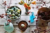 Easter eggs and spring flowers