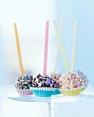 Various cake pops in praline cases