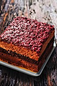 Chocolate cake with a raspberry crust (France)