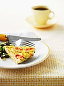 A slice of Tex-Mex frittata with black beans