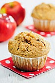 Bran muffins with apple, raisins and cinnamon