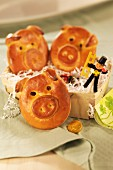 Lucky pigs made from bread dough for New Year's Eve