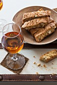 Cantucci e Vin Santo (almond biscuits and dessert wine, Italy)