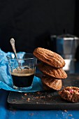 Dark madeleines and coffee