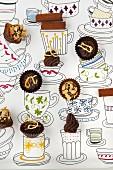 Schnelles Schokoladenkonfekt auf gezeichneten Tassen