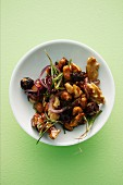 Roasted nuts with rosemary and shallots