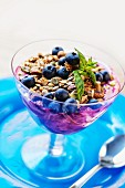 Blueberry yogurt with pistachio muesli