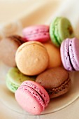 Pastel-coloured macaroons