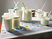 Various yogurts on a kitchen table