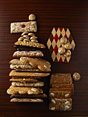 Various types of gingerbread on a wooden table