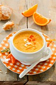 Carrot and orange soup with crème fraîche