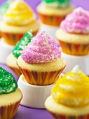 Cupcakes decorated with coloured sugar