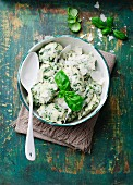 Herb dumplings with Parmesan and basil