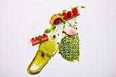 Rhubarb with pistachio cream and rhubarb ice cream