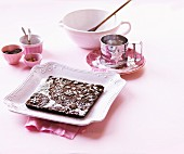 Chocolate shortbread for Christmas on a pastel-pink plate