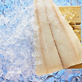 Halibut fillet on ice