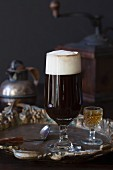 Irish coffee with cream and whisky