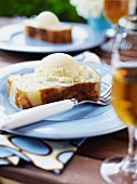 Pear cake with vanilla ice cream