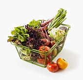 Fresh vegetables in a shopping basket